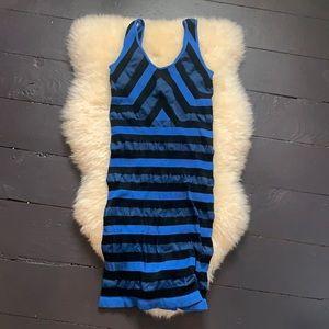 Bebe black and blue club bodycon dress stripe XS